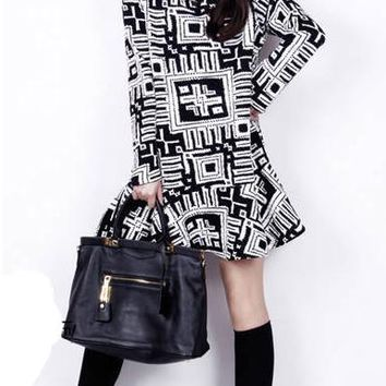 Cotton Shift Dress - Long Sleeves / Geometric Pattern / Drop Waist / Short