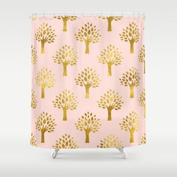 Pink Gold Foil 02 Shower Curtain by Aloke Design