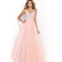 Pink by Blush 5427 Blush Pink Rhinestone Beaded Open Back Tulle Dress Prom 2015