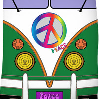 Peace and love in green color, hipster wagon, bus fleece blanket, retro theme