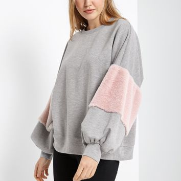 Fuzzy Sleeve Pullover Top