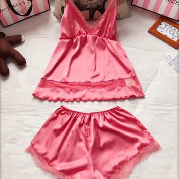Victoria's Secret Women Silk Satin Vest Tank Top Shorts Robe Sleepwear Loungewear Set Two-Piece