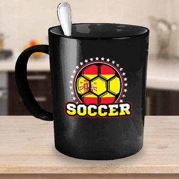 Spain Soccer Ball Coffee Mug 11 or 15oz Black Ceramic Cup, Soccer Gift, Soccer Player, Soccer Mug, Spain Flag
