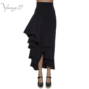 Young17 2017 Spring Fashion Irregular Women Skirt High Waist Black Midi Skirt Elegant Ruffles Pleated Long Pencil Skirt Female