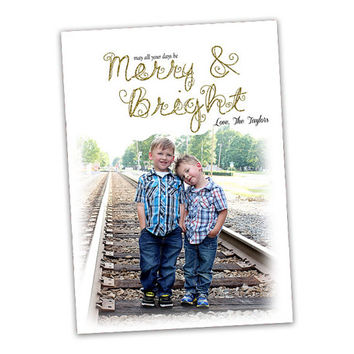 Gold Glitter Photo Christmas Cards - Merry and Bright Christmas Cards - Elegant Christmas Card Set - Family Photo Christmas Cards - Holiday