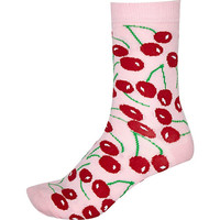 River Island Womens Pink novelty cherry print socks