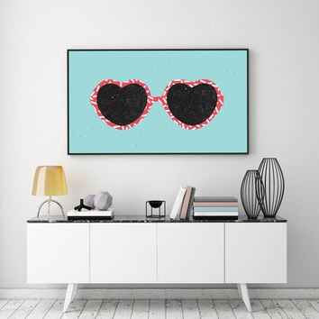 Eye Glasses Poster, Eye Glasses Print, Retro Decor, Wall Art, Eye Glasses Print, Fashion Print, Glamour Decor, Retro Art, Home Decor.