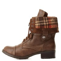 Plaid-Lined Fold-Over Combat Boots by Charlotte Russe - Brown