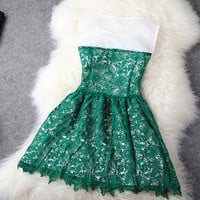 Handmade Embroidery Dark Green Lace Dress