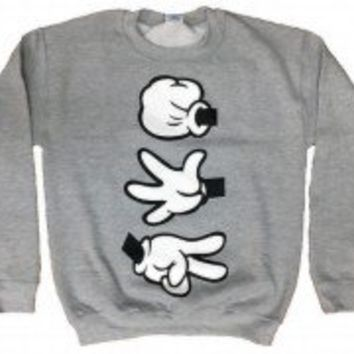 Rock Paper Scissors Mickey Mouse Gloves Crewneck Sweater - Disney Parody