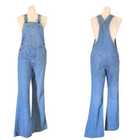 Women Denim Overall Pant 70s Overall Levis Overall Denim Bib Overall Dungaree Salopette Over Alls Bell Bottom Overall Women Bell Bottom