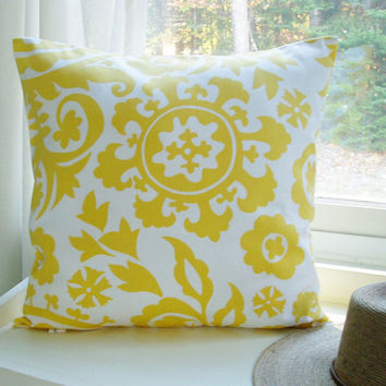 Decorative Yellow Pillow Cover Suzani Throw Pillow Cotton 22x22