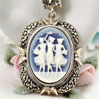 Sterling Cameo Pendant, The Three Muses or Graces, Marcasite Cut Stones, Blue and White