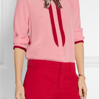 Gucci - Grosgrain-trimmed silk crepe de chine blouse