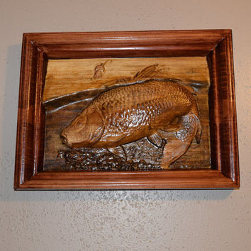 Bass Fisherman Hand Carved Handmade Wood Wall Art Nautical Fishing Decoration Man Cave Wood Wall Hanging Handmade in Texas Ready to Ship