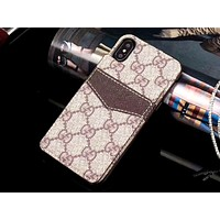 GUCCI & LV Tide brand card insertion simple and versatile iPhone8 mobile phone case #8