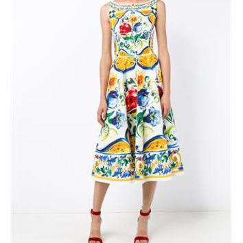 DOLCE & GABBANA | Sleeveless Maiolica Print Cotton Dress | Womenswear | Browns Fashion