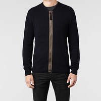 Mens Korizon Knitted Bomber Jacket (Ink) | ALLSAINTS.com