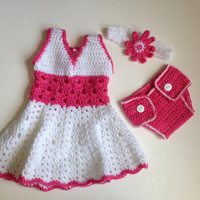 Crochet baby girl dress with Headband and diaper cover PDF Pattern, tutorial PDF dress set file with pics.