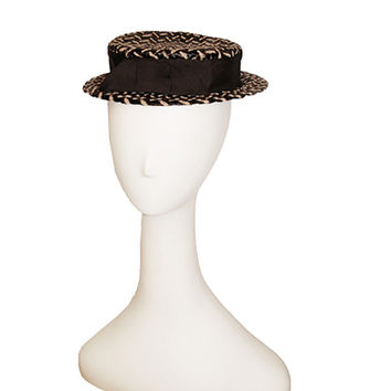 1950s Straw Sailor Hat, Brown & Black Herringbone Pattern