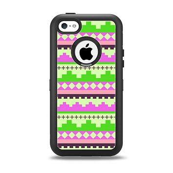The Lime Green & Pink Tribal Ethic Geometric Pattern Apple iPhone 5c Otterbox Defender Case Skin Set