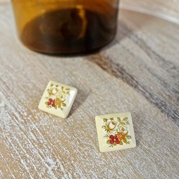 Vintage 1970s Ceramic + Square Floral Earrings