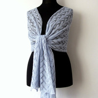 pale blue lace stole, delicate alpaca silk lace shawl, something blue bridal cover up, handknit, luxurious, ready to ship