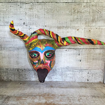 Mask Paper Mache Mask Court Jester Mask Folk Art Wall Mask Devil Mask Mardi Gras Mask Paper Mache Sculpture Hand Painted Mask with Horns