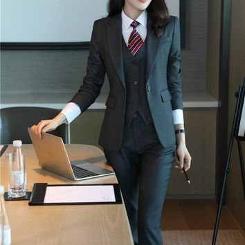 Formal Grey Blazer Women Business Suits with Pant + Jacket + Waistcoat Sets Office Ladies Work Wear Uniforms OL Style