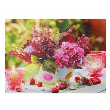 "LED Lighted Candles and Pink Floral Arrangement with Berries Canvas Wall Art 11.75"" x 15.75"""