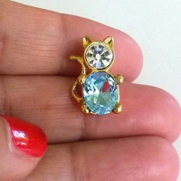 Vintage Ballou Blue Rhinestone Kitty Cat Gold Tone Tie Tack Pin