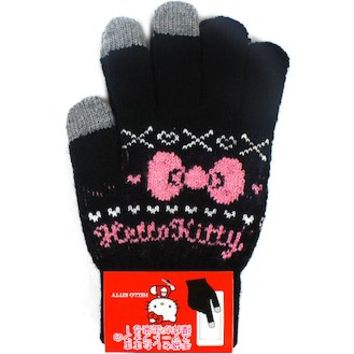 Had Hello Kitty hand bag Smartphone gloves Smartphone compatible black ☆ Sanrio ladies fashion accessories series