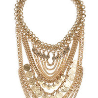 Boho Charm Gold Layered Statement Necklace