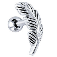 Nature Leaf Stainless Steel and 925 Sterling Silver Cartilage Tragus Earring Left Ear