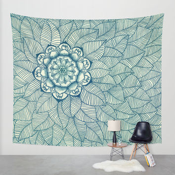 Emerald Green, Navy & Cream Floral & Leaf doodle Wall Tapestry by Micklyn