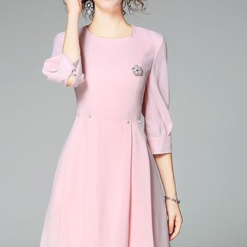Skater Dress W/ Pearl and Brooch