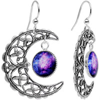 Handcrafted Silver Plated Celestial Galaxy Moon Dangle Earrings | Body Candy Body Jewelry