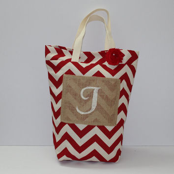 Red Chevron Bag - Personalized Gift - Burlap Bag - Work Bag