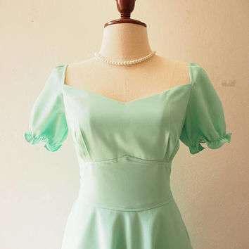 Happily Ever After - Sundress Doll Sleeve Dress Mint Green Bridesmaid Dress Vintage La La Land Dress Sweetheart Tea Party Dress Swing Dress