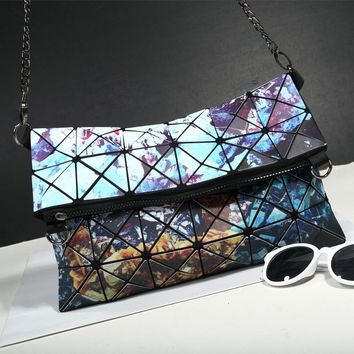 Iridescent Tiled Shoulder Bag Clutch Purse