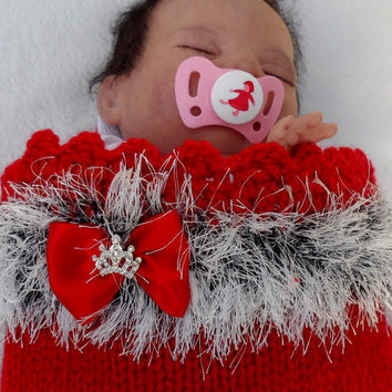 Baby bunting, Newborn, CHRISTMAS coming home set, cacoon, baby nest, festive, photo prop, furry trimmed wrap, hat,reborn doll, warm, cacoon