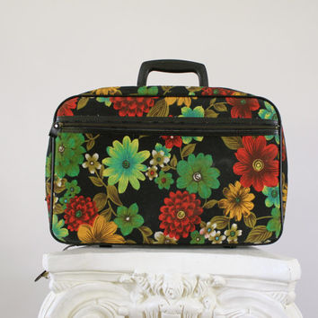 Vintage Floral Small Suitcase Overnight Bag - Retro Mod 1960s Carry On Tote / Retro Travel Luggage