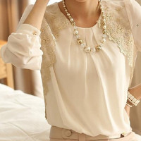 Fashion Beige Sheer Lace Blouse Tops Shirt Chiffon Casual Office Lady Elegent (Asian size) For detail size information, please check the description = 1645611972