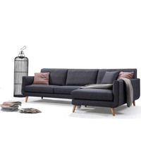 Right Facing Mid-Century L-Shaped Sectional Sofa in Navy Blue Grey Linen