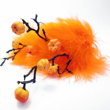 Legend of Sleepy Hollow Headband - Spooky Pumpkin Patch headpiece - Orange Woodland wedding tiara bride - Halloween Fall Festival