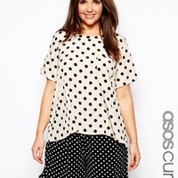ASOS CURVE Exclusive T-Shirt In Polka Dot - Nude/black