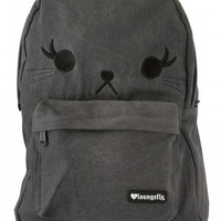 """CAT"" DENIM BACKPACK BY LOUNGEFLY (BLACK)"