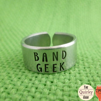 Band Geek  - Hand Stamped Adjustable Ring