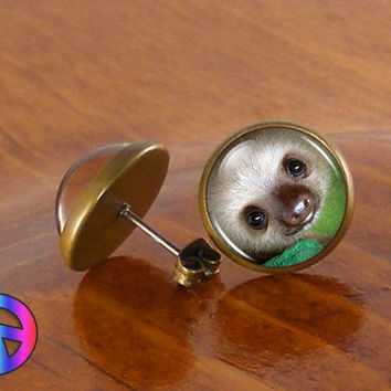 Handmade Glass Dome Baby Sloth Fashion Earrings Studs Jewelry Gift Art Present