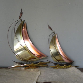 Vintage MCM sculptures wood and metal - c Jere style - mid century modern - sail boats